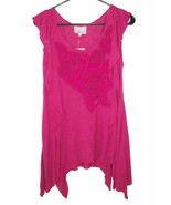 NWT Baraschi Anthropologie S Tunic Tank Top Pink Roses Floral Ruffled Asymmetric - $24.29
