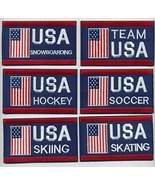 "Team USA Embroidered Iron-On 6 Patch Set Size 4"" x 2 1/2"". USA Winter Ol... - $32.62"