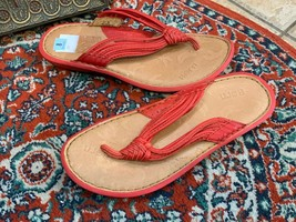 Born Red Leather Strappy Flip Flop Sandals Flats 8 39 M W51084 New - $29.66