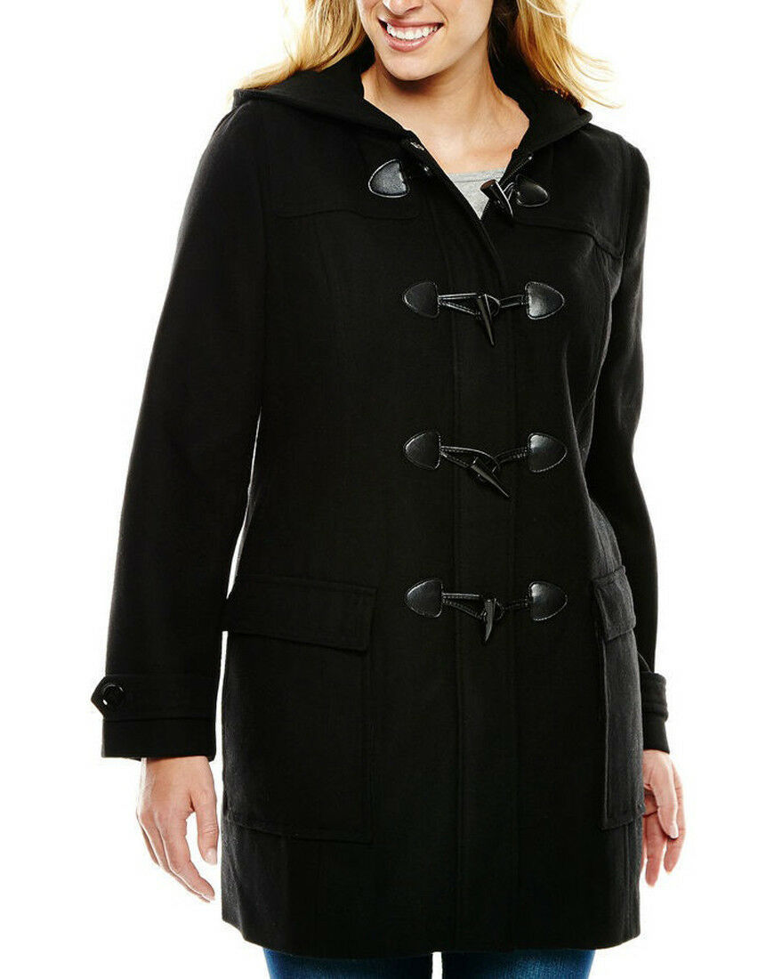 Primary image for New Liz Claiborne Women Wool Blend Hooded Toggle Coat Black Variety Szs Msrp$220