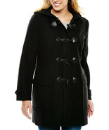 New Liz Claiborne Women Wool Blend Hooded Toggle Coat Black Variety Szs ... - $109.99