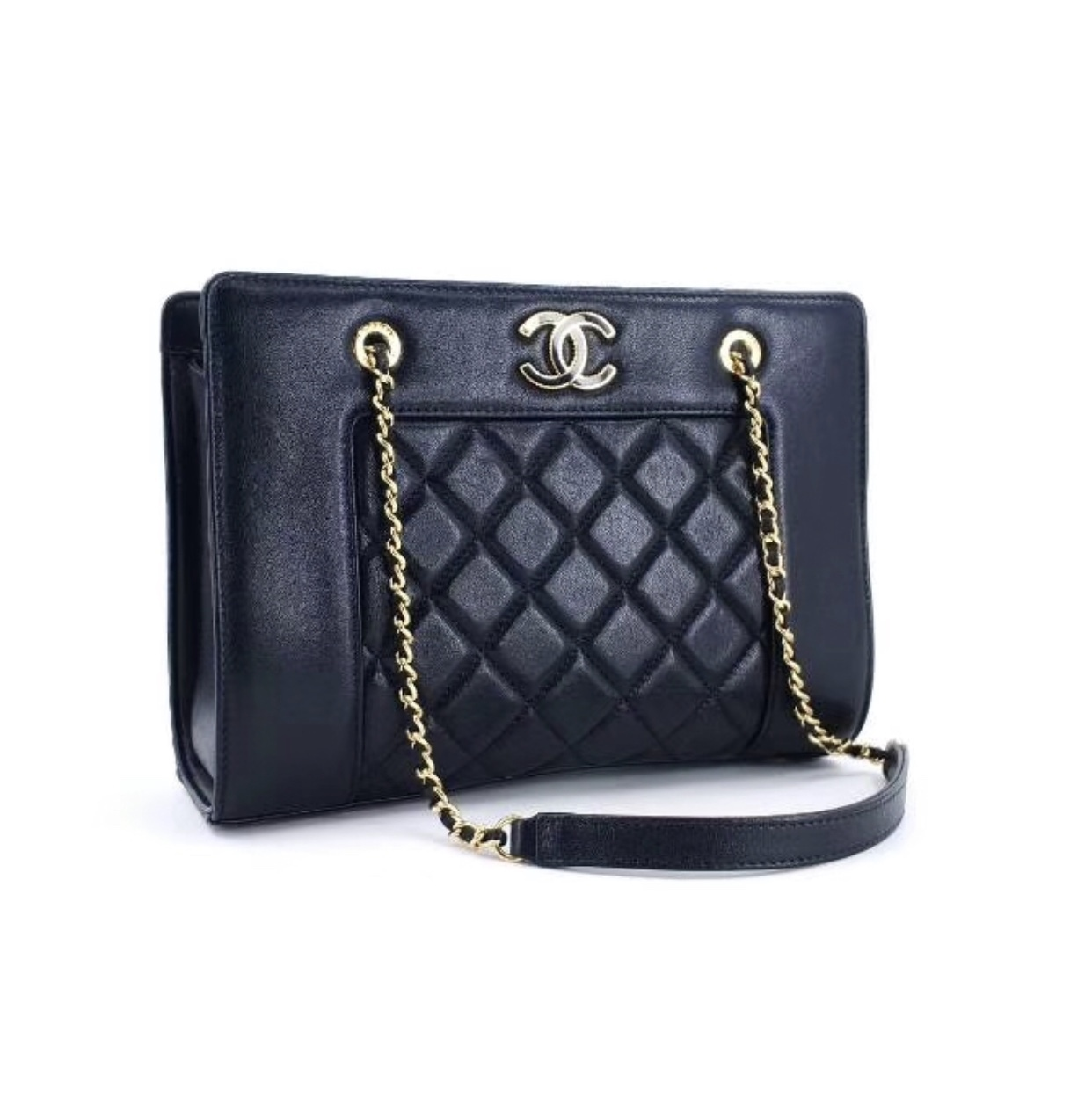 AUTH NEW CHANEL QUILTED LEATHER BLACK SHOPPER TOTE BAG GHW RECEIPT