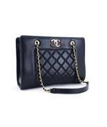 AUTH NEW CHANEL QUILTED LEATHER BLACK SHOPPER TOTE BAG GHW RECEIPT - $3,499.00