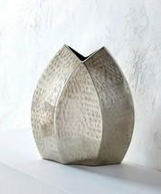 "Vase Silver 11"" High Decorative Uniquely Shaped Nickel Finish Aluminum"
