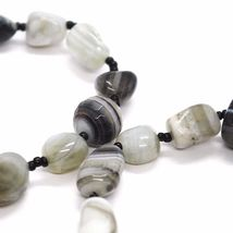 Long Necklace 120 cm, 1.2 Metres, White Agate Black Grey Banded image 8