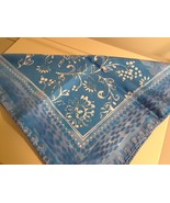 Blue White Pattern Scarf 100% Silk Made in Italy New - $24.70