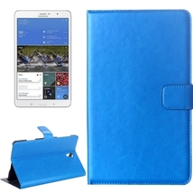 For Galaxy Tab S 8.4 Blue Crazy Horse Texture Flip Leather Case with Holder - $13.99