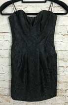 NWT Guess Dress Bustier Lace Overlay Jet Black Sweetheart Neck Mini Size 1 - $22.77