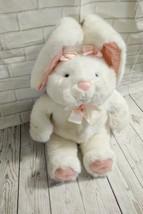 "Vtg Commonwealth Bunny Rabbit plush satin pink detail 16"" - $33.85"