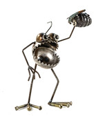 Sugarpost Scrap Metal Gnome Be Gone Mini Grenade Indoor Outdoor Metal Sc... - $61.99