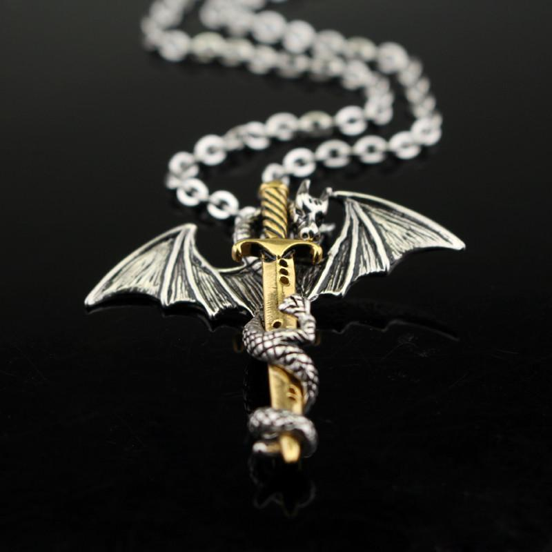 HANCHANG Vintage, Gothic Sword & Dragon Theme Unisex Necklace / Pendant image 3