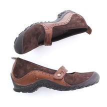 Merrell Plaza Bandeau Brown Suede Mary Janes Sport Wedge Heel Women 10 S... - $39.50