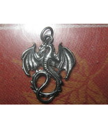 USA SELLER GOTHIC WINGED FIRE DRAGON SILVER PEWTER TONE PENDANT CHARM NECKLACE - $3.95