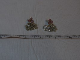 Clip on earrings white silver pink stone vintage non pieced ears costume... - $36.62