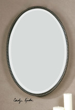 "New 22"" Oil Rubbed Bronze Forged Metal Beaded Oval Beveled Wall Vanity Mirror - $283.80"