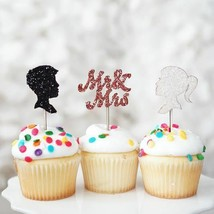 12 Mr and Mrs Black White Glitter Cupcake Wedding Cake Topper Picks Deco... - $13.90