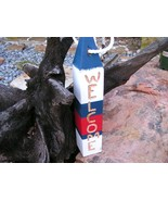 Large Welcome buoy, HAND carved letters, Nautical beach decor, Maine Lob... - $59.98