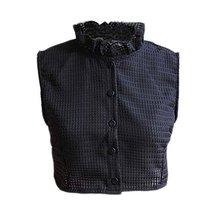 Flouncing Elegant Lace Detachable False Collar Stand Collar-Black L