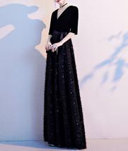 Women Half Sleeve Velvet Maxi Dress High Waist Formal Dress, Black, Plus Size image 14