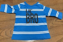 Okie Dokie Lil' Bro Long Sleeve Shirt Size Newborn BLUE And White - $7.69