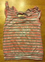 Miss Understood Girl's Pink & Gray Striped Cap Sleeve Shirt Size Small 2... - $6.79