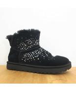 8 - Ugg Black Suede Galaxy Bling Fleece Lined Ankle Slipper Boots 0721DK - $90.00