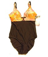 YBL Your Best Look Brown with Floral Tank One Piece Swimsuit Size 10 NWT... - $71.24