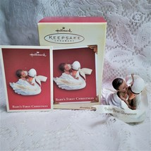 Hallmark Babys First Christmas Ornament Swan African American Baby 2005 - $11.83
