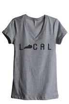 Thread Tank Local Kentucky State Women's Relaxed V-Neck T-Shirt Tee Heather Grey - $24.99+