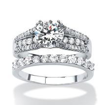 3.31 TCW CZ Platinum over .925 Silver 2-Piece Bridal Ring Set - $24.53