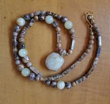 "Vintage Handmade 1990's Jasper Bead Necklace with Turtle Pendant- 13"" - $4.94"