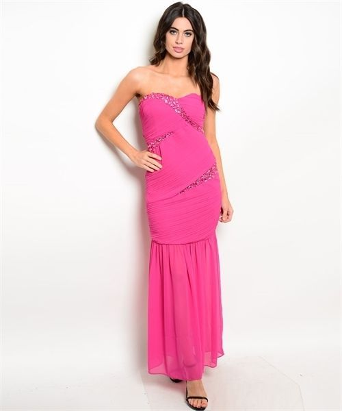 Strapless Sexy Jrs Mermaid Party Evening Full Length Dress, Fuchsia or Black