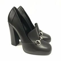 Y-1108175 New Gucci Scar Pelle Black Horsebit Heels Shoe Size US-9.5 Mar... - £268.63 GBP