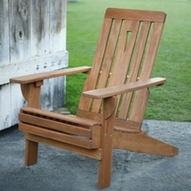 Outdoor Hardwood Square-Back Adirondack Chair with Oversized Contoured Seat - $274.25