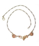 "18"" ANTIQUE  BRONZE NECKLACE WITH RED CRYSTAL GLASS STONES - $19.99"