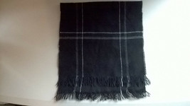 "Black with White Stripes and Fringe Knit Scarf 4'x11"" - $15.49"