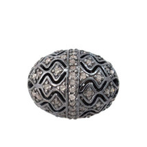 New Pave 1.15Ct Diamond Spacer 925 Sterling Silver Bead Filigree Finding... - $220.66