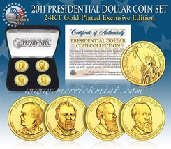 2011 MINT 24K GOLD USA PRESIDENTIAL $1 DOLLAR 4 COINS SET WITH BOX - $21.03