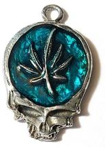MARIJUANA LEAF SKULL Fine Pewter Pendant Approx. 1-1/2 inches wide image 3