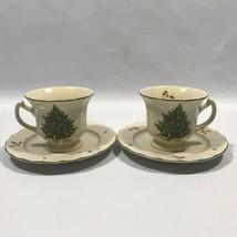 Christmas Holiday Season Tea Cup Saucer Set of 2 Japan Nova Studio Tree Santa - $15.84