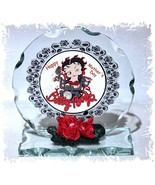 Betty Boop Birthday Gift Cut Glass Round Plaque Ltd Edition Betty Biker #1 - $31.44