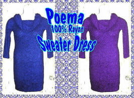 Poema 100% Rayon Sweater Dress in Blue or Red Violet   - $27.99