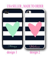 Personalized CUTE BLACK NAVY STRIPE PINK MINT HEART Case For iPhone X 8 ... - $12.99+