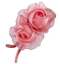 [Naked Pink] Double-Rose Hair Styling Tool Barrette & Ponytail Holder Hair Clip