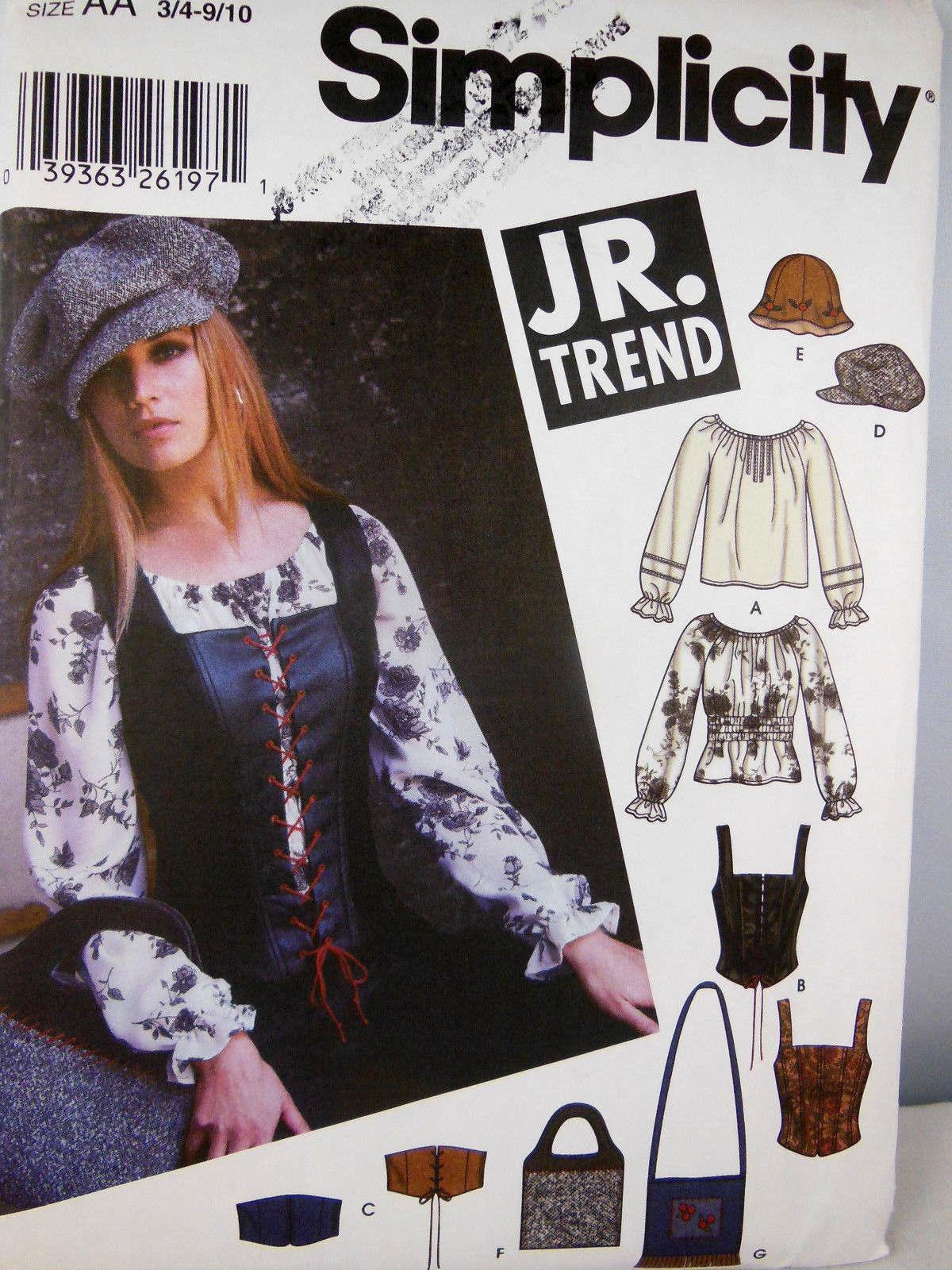 Simplicity 5799 Junior Trend Blouse Corset Vest Hats bags UNCUT Clean Smoke free
