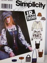 Simplicity 5799 Junior Trend Blouse Corset Vest Hats bags UNCUT Clean Sm... - $7.91