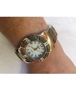 Vintage Style Green Unikcyte Stone Bangle Cuff Bracelet Watch - $35.64
