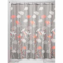 InterDesign Daizy Shower Curtain, Gray and Coral, 72 x 72-Inch - $18.43