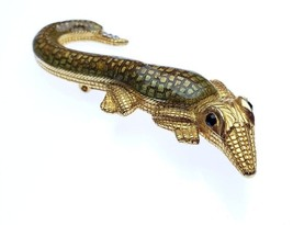 Vintage Designer Signed Costume Enamel Gold Tone Alligator Pin Brooch Rh... - $35.00