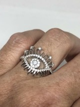 Vintage Crystal Eye Deco Ring 925 Sterling Silver Size 8 - $64.35